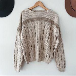 VINTAGE   Oatmeal Oversized Grandpa Knit Sweater M